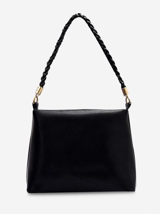 sale Weaving Belt PU Leather Tote Bag - BLACK