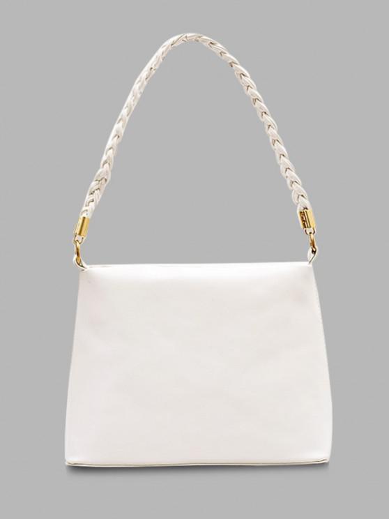 Weaving Belt PU Leather Tote Bag - حليب ابيض