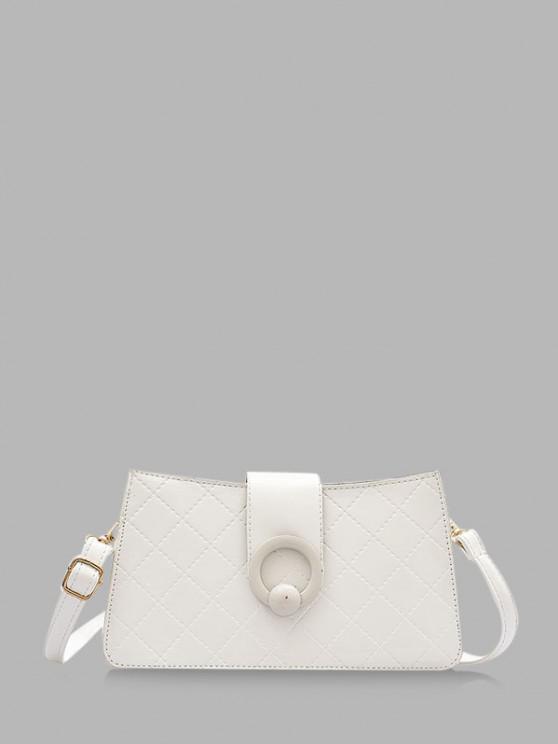 women Grid Stitching PU Leather Shoulder Bag - MILK WHITE
