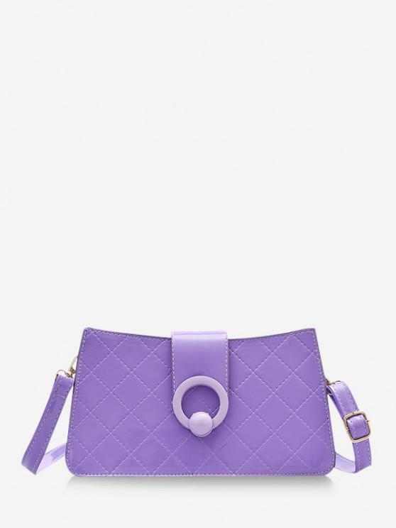 ladies Grid Stitching PU Leather Shoulder Bag - DARK VIOLET