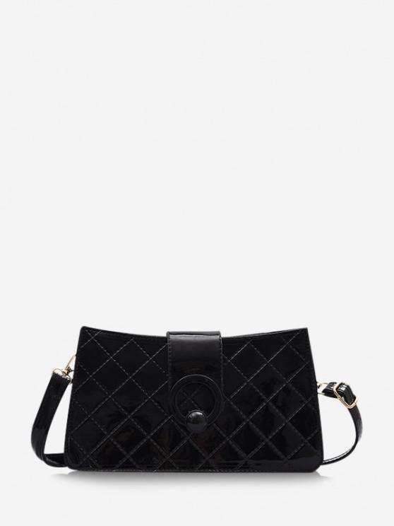 Grid Stitching PU Leather Shoulder Bag - أسود