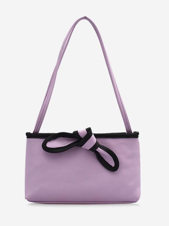 fancy Bowknot Design PU Leather Tote Bag - LIGHT PURPLE