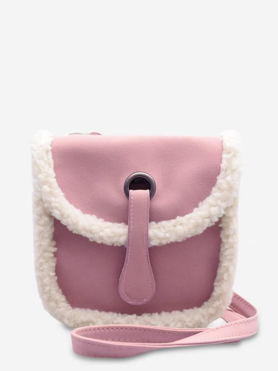 unique Faux Fur Dull Polish Design Saddle Bag - PIG PINK