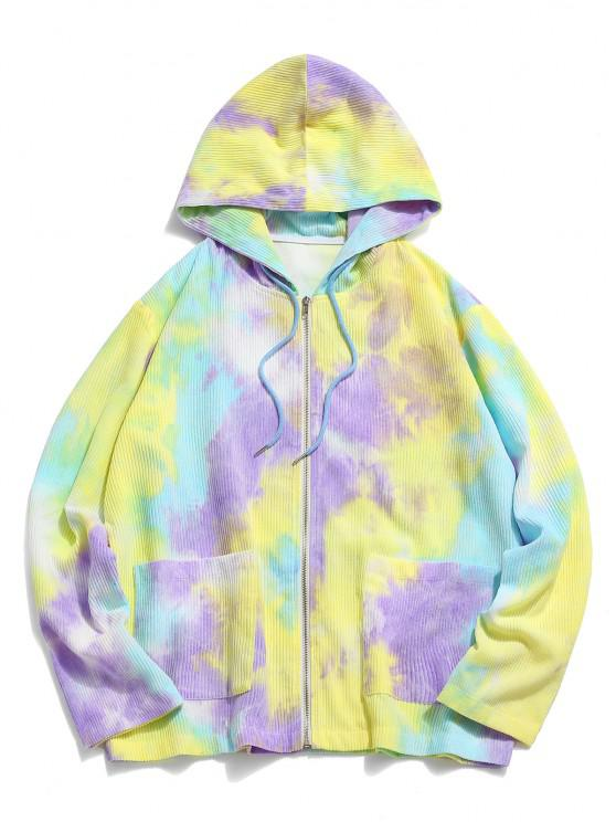women's Hooded Tie Dye Pattern Corduroy Jacket - YELLOW 2XL