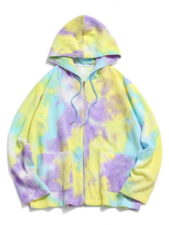 Hooded Tie Dye Pattern Corduroy Jacket - الأصفر 2XL