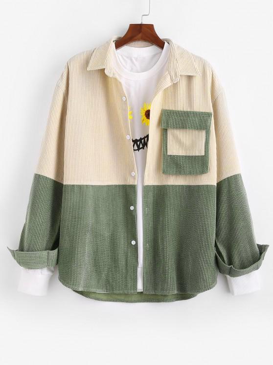 Colorblock Patchwork Pocket Corduroy Shirt Jacket - متعدد 2XL