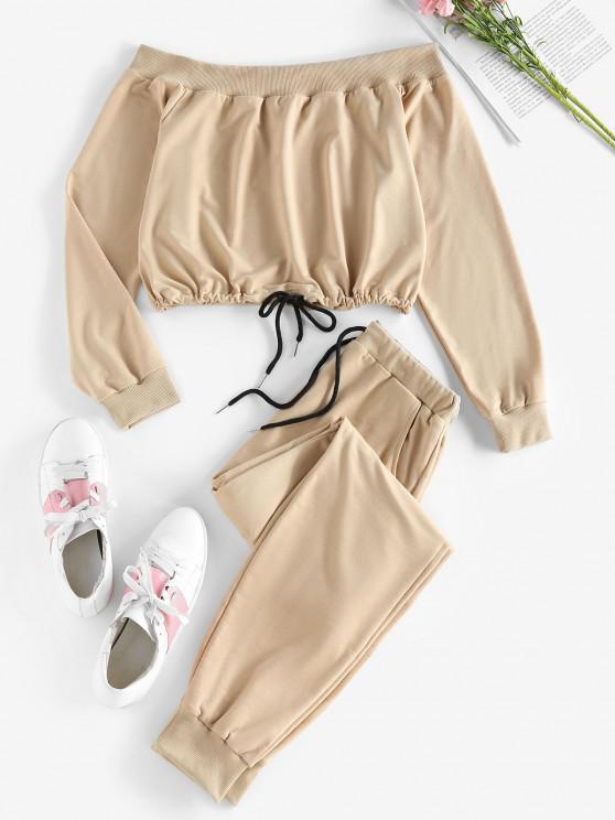 ZAFUL Ensemble de Sweat-shirt à Epaule Dénudée et de Pantalonde Survêtement Deux Pièces - Cassonade XL