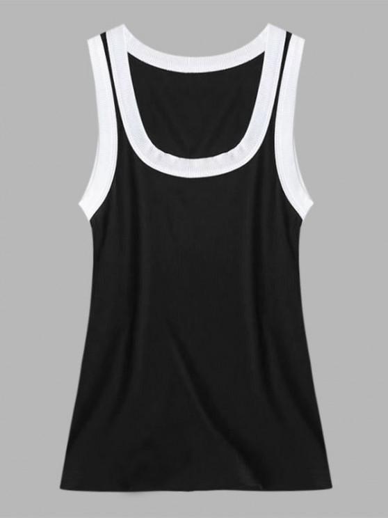 affordable Ribbed Contrast Trim Scoop Neck Tank Top - BLACK M