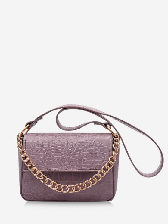 outfits Animal Pattern PU Leather Double Strap Bag - MAUVE