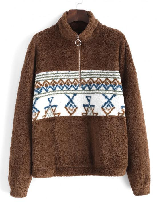 ZAFUL Half Zipper Tribal Print Fluffy Sweatshirt - القهوة العميقة S
