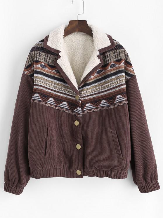 ZAFUL Corduroy Faux Fur Lined Tribal Print Jacket - المخاوي M