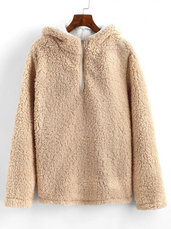 shop Quarter Zip Faux Shearling Teddy Hoodie - LIGHT COFFEE S