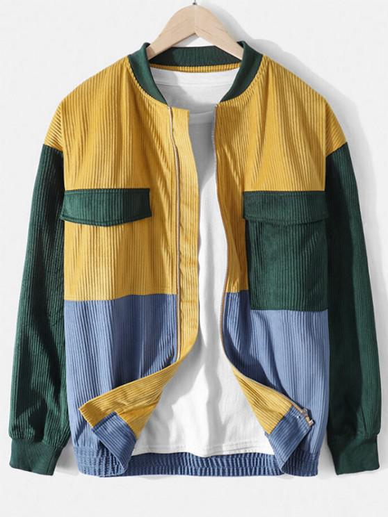 Colorblock Patchwork Panel Pocket Jacket - الأصفر XL
