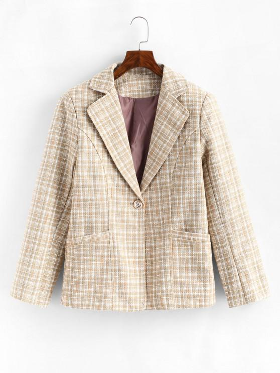 chic One Buttoned Pockets Plaid Tweed Blazer - LIGHT COFFEE L