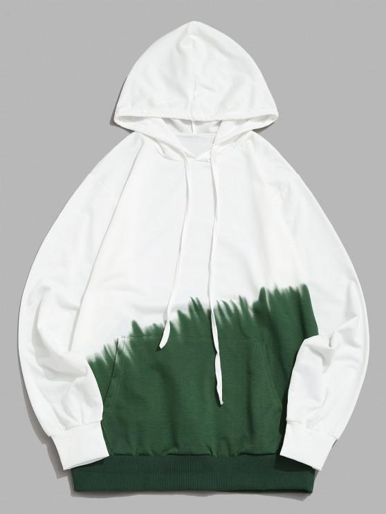 fancy Ombre Print Front Pocket Hoodie - GREEN XS