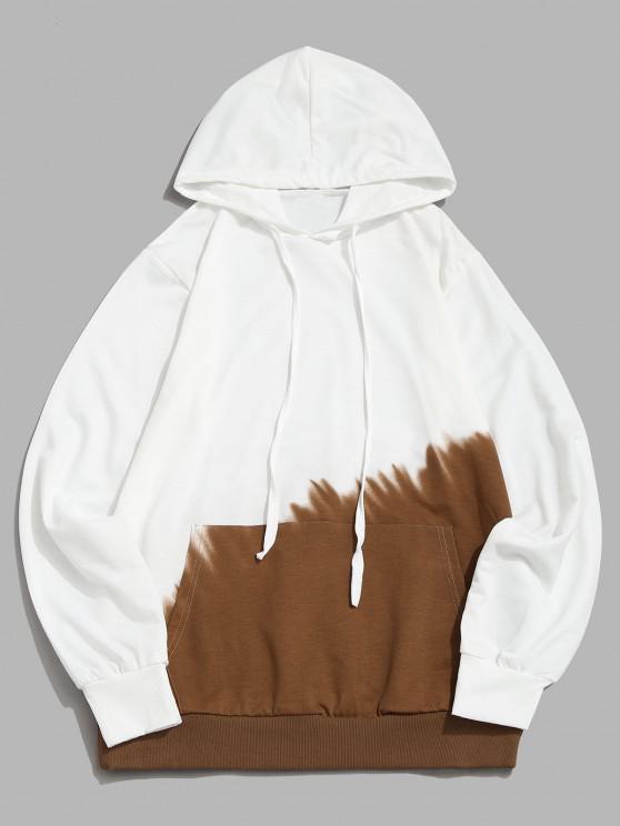 Ombre Print Front Pocket Hoodie - كاكي M