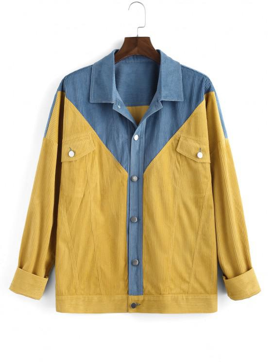 Veste Bicolore Jointif avec Poche à Rabat - Jaune 3XL