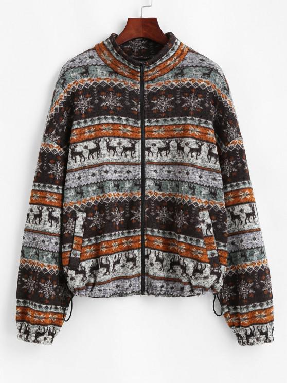 women ZAFUL Fair Isle Knit Zip Up Jacket - MULTI-A M