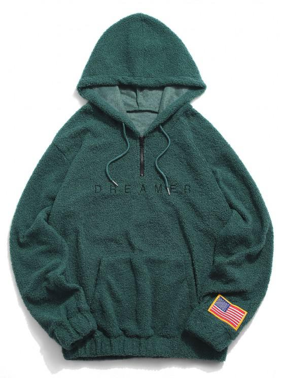 shop Dreamer Embroidery American Flag Patch Teddy Hoodie - DEEP GREEN XL