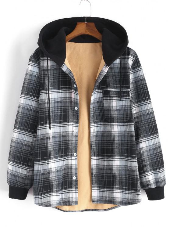 sale Hooded Button Up Plaid Print Pocket Fleece Jacket - GRAY XL