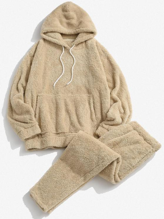 shop Solid Front Pocket Fluffy Hoodie And Pants Two Piece Set - LIGHT COFFEE L