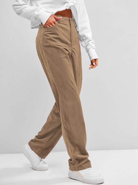 buy ZAFUL High Waisted Corduroy Pants - TAN S