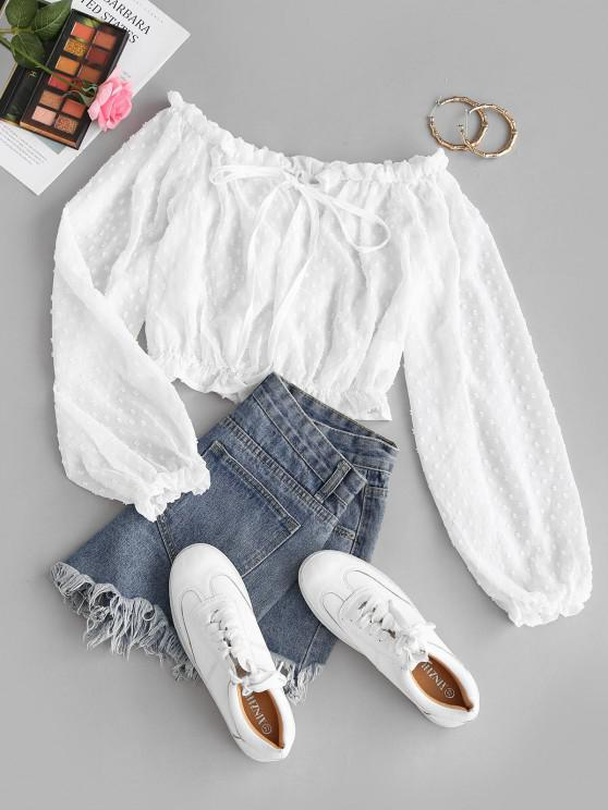 outfit Tie Collar Swiss Dot Off Shoulder Blouse - WHITE M