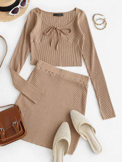 Ribbed Tie Long Sleeve Two Piece Skirt Set - Light Coffee M