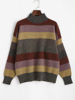 Mock Neck Striped Colorblock Sweater - Multi