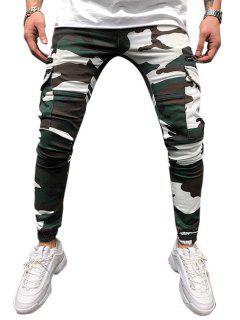 Camouflage Print Multi Pockets Tapered Cargo Pants - Shamrock Green Xl