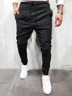 Drawstring Sewing Detail Tapered Casual Pants - Black Xxl
