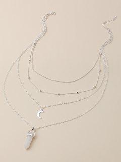 Colgante En Forma De Luna Collar De Múltiples Capas - Plata