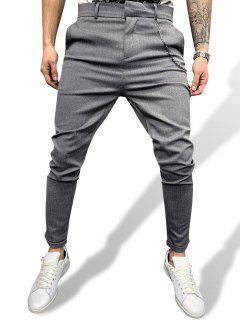 Chain Detail Tapered Work Pants - Gray Xxl
