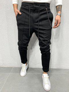 Chain Detail Pintuck Tapered Casual Pants - Black Xl