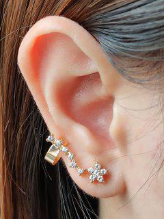 Rhinestone Flower Branch Shape Cuff Earring - Golden