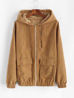 Hooded Double Pockets Corduroy Jacket - Coffee M