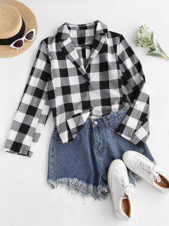 Button Up High Low Slit Plaid Shirt - Black M
