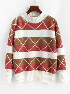 Mock Neck Colorblock Geo Graphic Sweater - Light Pink