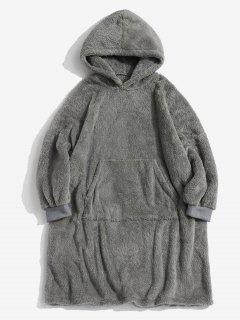 Front Pocket Drop Shoulder Fluffy Blanket Hoodie - Gray Xs