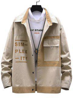 Letter Print Colorblock Patchwork Jacket - Light Khaki S