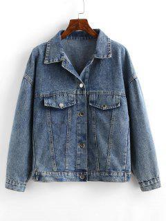Embroidered Back Distressed Denim Jacket - Light Blue L