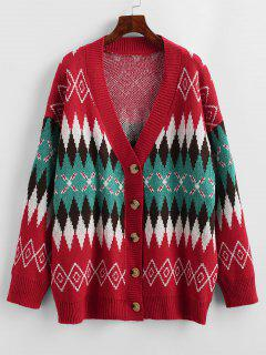 Loose Button Up Geo Graphic Cardigan - Red