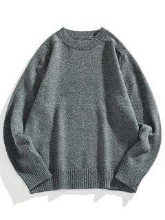 Crew Neck Raglan Sleeve Pullover Sweater - Dark Gray M