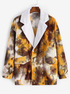 Tie Dye Print Faux Shearling Corduroy Jacket - Coffee M