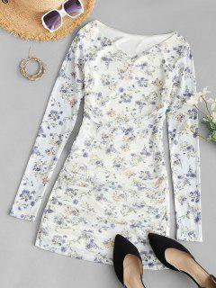 Tiny Floral Ruched Long Sleeve Bodycon Dress - White