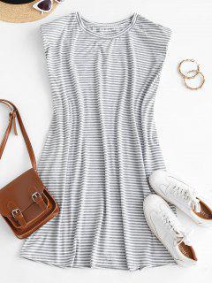 Casual Stripes Shoulder Pads Mini Dress - White M