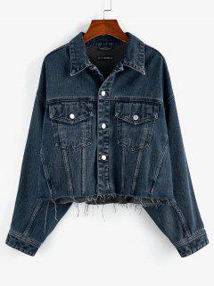 ZAFUL Drop Shoulder Frayed Hem Denim Jacket - Deep Blue L