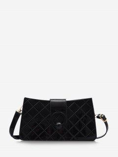 Grid Stitching PU Leather Shoulder Bag - Black