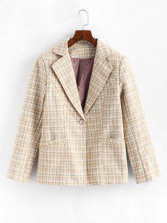 One Buttoned Pockets Plaid Tweed Blazer - Light Coffee M
