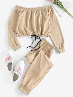 ZAFUL Off Shoulder Sweatshirt And Sweatpants Two Piece Set - Brown Sugar S